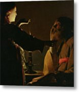 Jospeh And The Angel Metal Print by Georges de la Tour