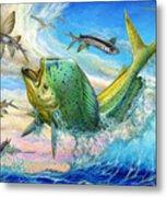 Jumping Mahi Mahi And Flyingfish Metal Print by Terry Fox