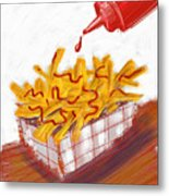 Ketchup And Fries Metal Print by Russell Pierce