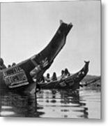 Kwakiutl Canoes, C1914 Metal Print by Granger