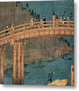 Kyoto Bridge By Moonlight Metal Print by Hiroshige