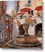 la fontana a St Paul de Vence Metal Print by Guido Borelli