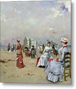 La Plage De Trouville Metal Print by Paul Rossert