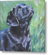 Labrador Retriever Pup And Dragonfly Metal Print by Lee Ann Shepard