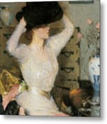 Lady Trying On A Hat Metal Print by Frank Weston Benson