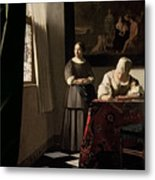 Lady Writing A Letter With Her Maid Metal Print by Jan Vermeer