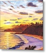 Laguna Village Sunset Metal Print by Steve Simon