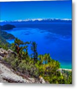 Lake Tahoe From Flume Trail Over Sand Harbor State Park Metal Print by Scott McGuire