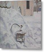 Lantern In The Snow Metal Print by Lea Novak