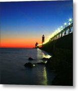 Last Light Grand Haven Michigan Metal Print by Robert Pearson