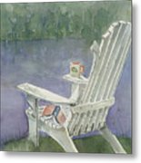 Lawn Chair By The Lake Metal Print by Arline Wagner
