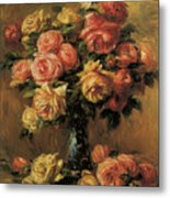 Les Roses Dans Un Vase Metal Print by Pierre-Auguste Renoir
