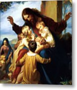 Let The Children Come To Me Metal Print by Carl Vogel von Vogelstein
