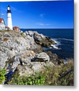 Lighthouse At Cape Elizabeth Metal Print by George Oze
