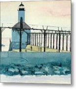 Lighthouse In Michigan City Metal Print by Lynn Babineau
