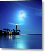 Lighthouse Moon Metal Print by Mark Andrew Thomas