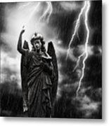 Lightning Strikes The Angel Gabriel Metal Print by Amanda And Christopher Elwell