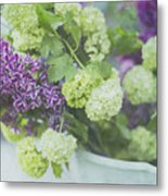 Lilacs And Snowballs Metal Print by Rebecca Cozart