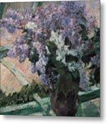 Lilacs In A Window Metal Print by Mary Cassatt