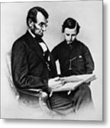 Lincoln Reading To His Son Metal Print by Photo Researchers