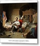 Lincoln Writing The Emancipation Proclamation Metal Print by War Is Hell Store