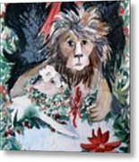 Lion And Lamb Metal Print by Mindy Newman