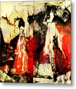 Little Red Riding Hood And The Big Bad Wolf Under A Yellow Moon Metal Print by Jeff Burgess