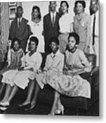 Little Rock Nine And Daisy Bates Posed Metal Print by Everett