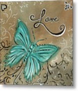 Live And Love Butterfly By Madart Metal Print by Megan Duncanson