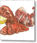Lobster Tail And Meat Metal Print by Dominic White