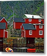 Lofoten Fishing Huts Oil Metal Print by Steve Harrington