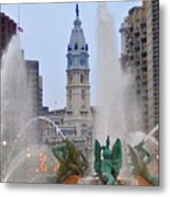 Logan Circle Fountain With City Hall In Backround 4 Metal Print by Bill Cannon