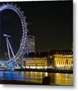 London Eye At Night Metal Print by Clarence Holmes