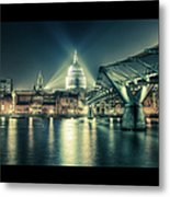 London Landmarks By Night Metal Print by Araminta Studio - Didier Kobi