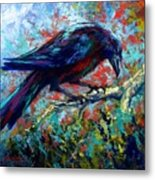 Lone Raven Metal Print by Marion Rose
