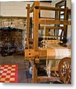 Loom And Fireplace In Settlers Cabin Metal Print by Douglas Barnett