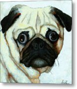 Love At First Sight - Pug Metal Print by Linda Apple
