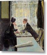 Lovers In A Cafe Metal Print by Gotthardt Johann Kuehl