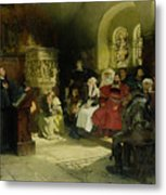 Luther Preaches Using His Bible Translation While Imprisoned At Wartburg Metal Print by Hugo Vogel