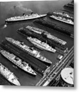 Luxury Liners Flanking An Aircraft Metal Print by Everett