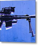 M82 Sniper Rifle On Blue Metal Print by Michael Tompsett