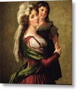 Madame Rousseau And Her Daughter Metal Print by Elisabeth Louise Vigee Lebrun