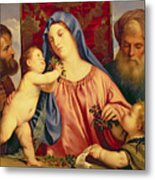 Madonna Of The Cherries With Joseph Metal Print by Titian