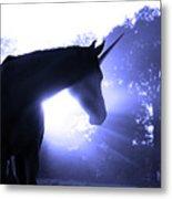 Magic Unicorn In Blue Metal Print by Sari ONeal