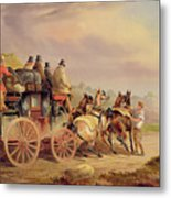 Mail Coaches On The Road - The 'quicksilver'  Metal Print by Charles Cooper Henderson