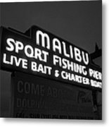 Malibu Pier Sign In Bw Metal Print by Glenn McCarthy Art and Photography