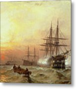 Man-o-war Firing A Salute At Sunset Metal Print by Claude T Stanfield Moore