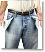 Man With Empty Pockets Metal Print by Blink Images