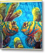 Mandarinfish- Bordered Metal Print by Sue Duda