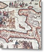 Map Of The Island Of Haiti Metal Print by French School